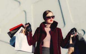 A woman after shopping