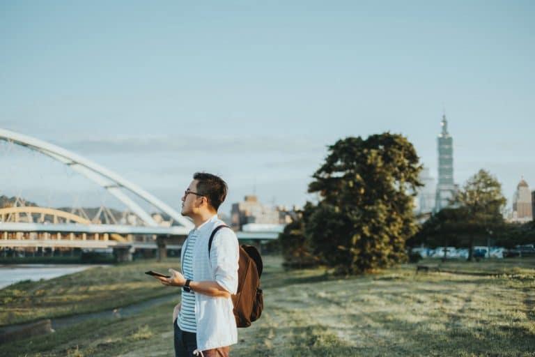 a man near a bridge