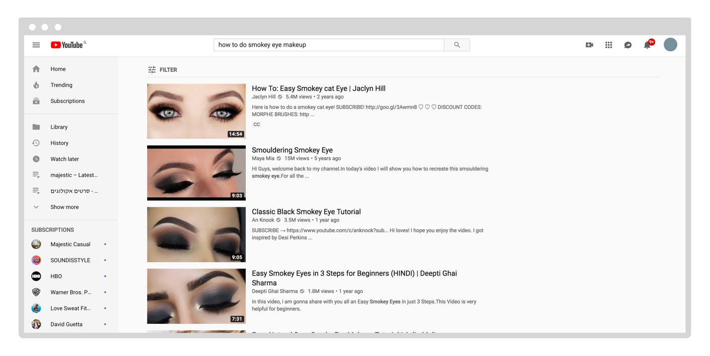YouTube search results page