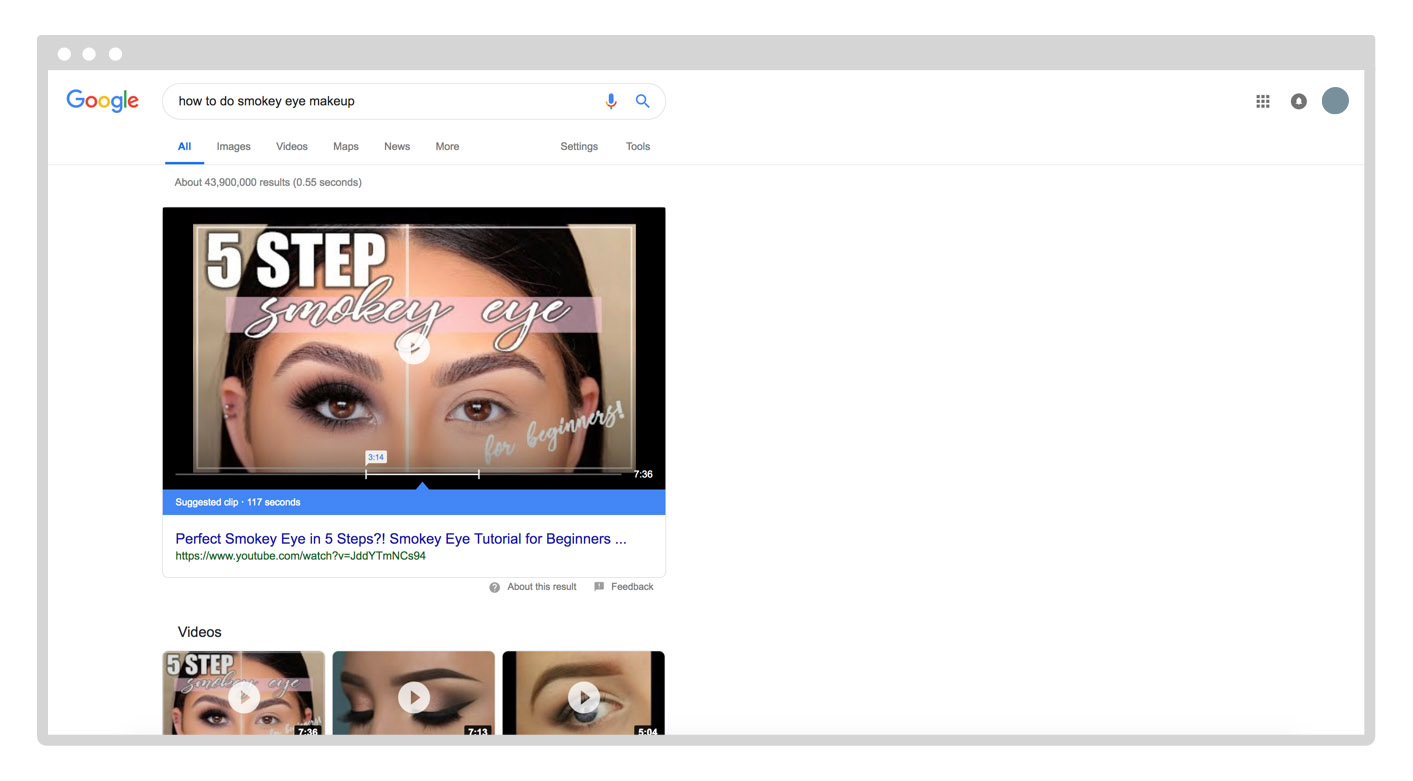 video results on Google