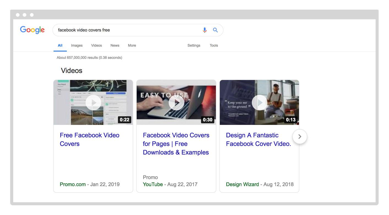 video carousel on Google