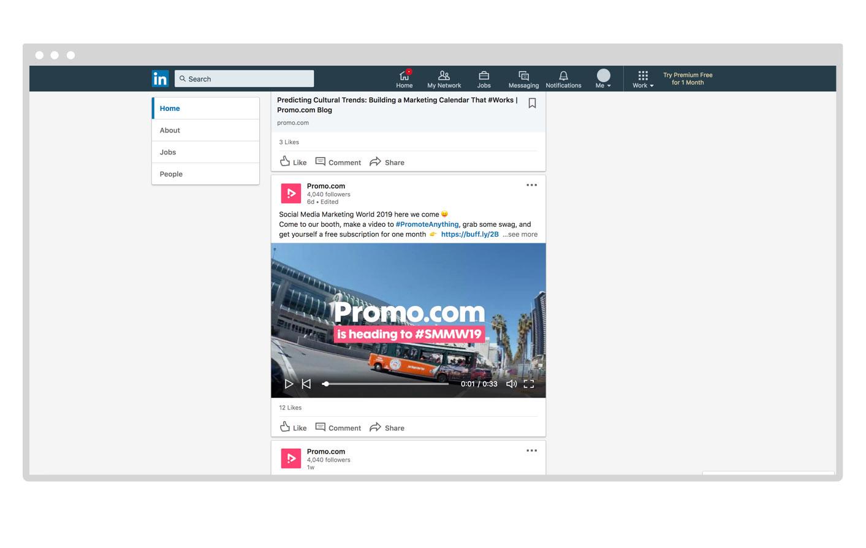 Promo.com's LinkedIn Account Video Example