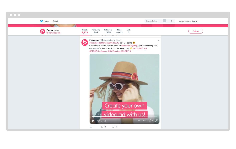 Promo.com Twitter account video example