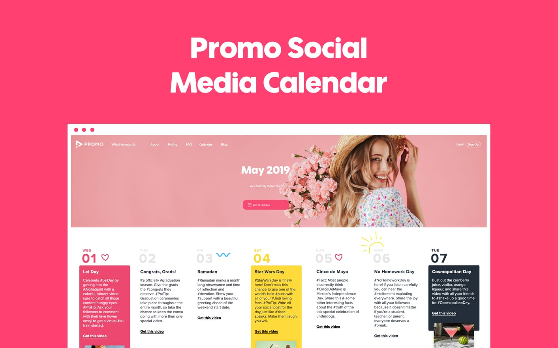 Promo social media calendar