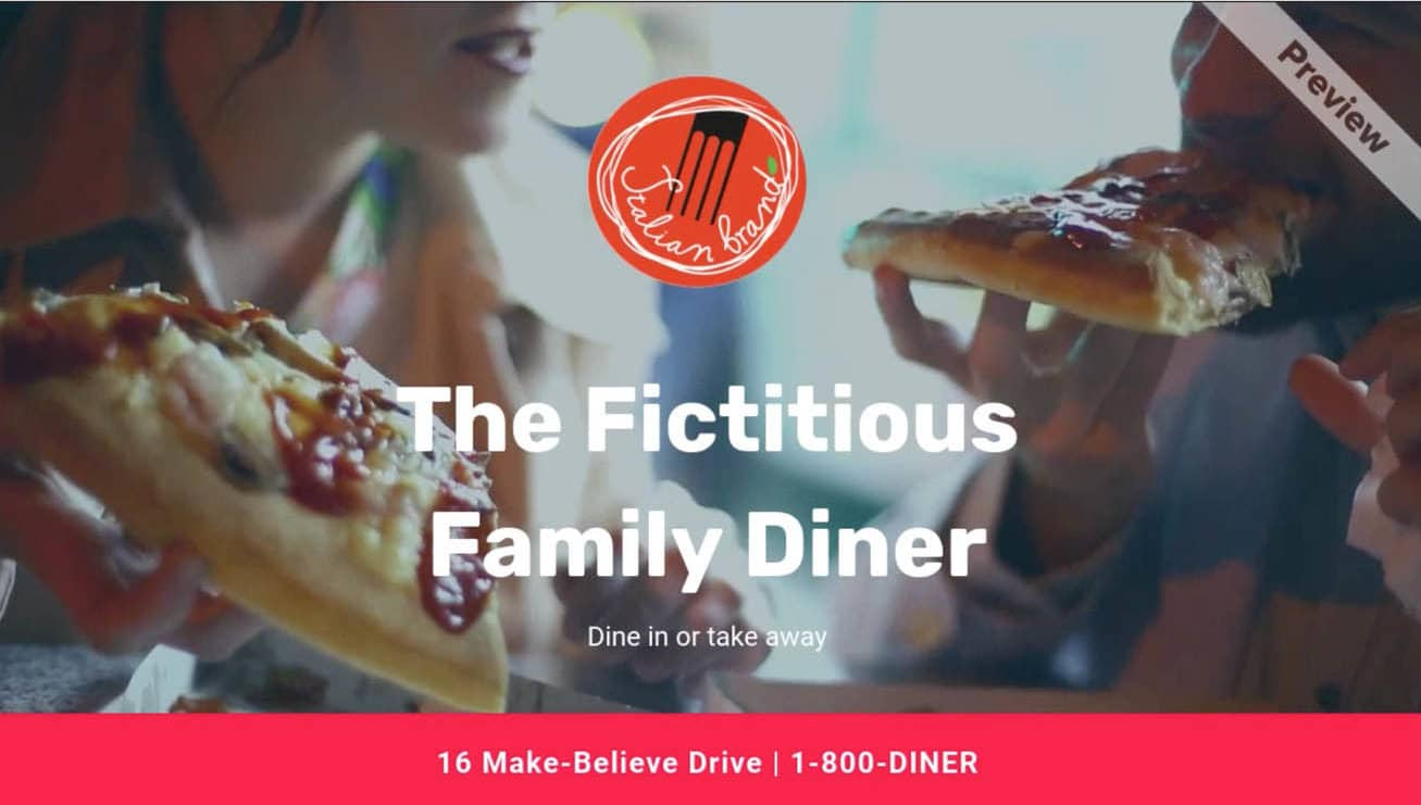 A CTA example for The fictitious Family Diner