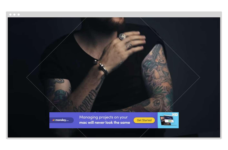 Overlay ad example