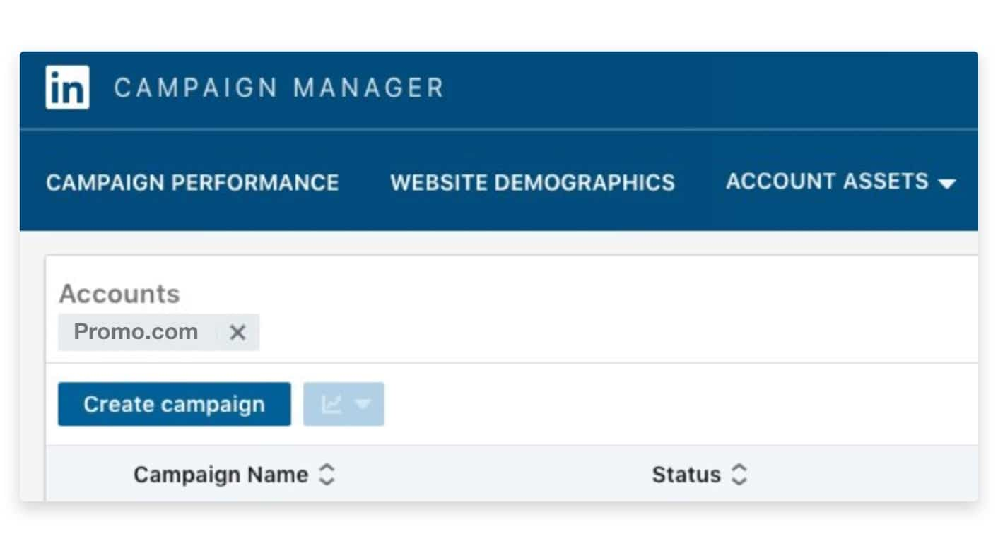 LinkedIn campaign manager dashboard create campaign