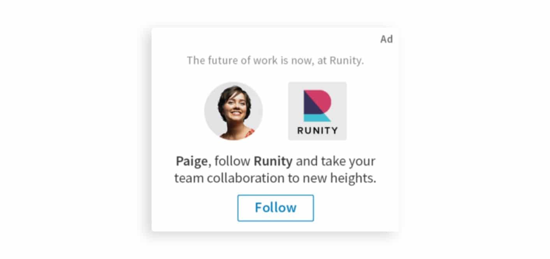LinkedIn follower ad