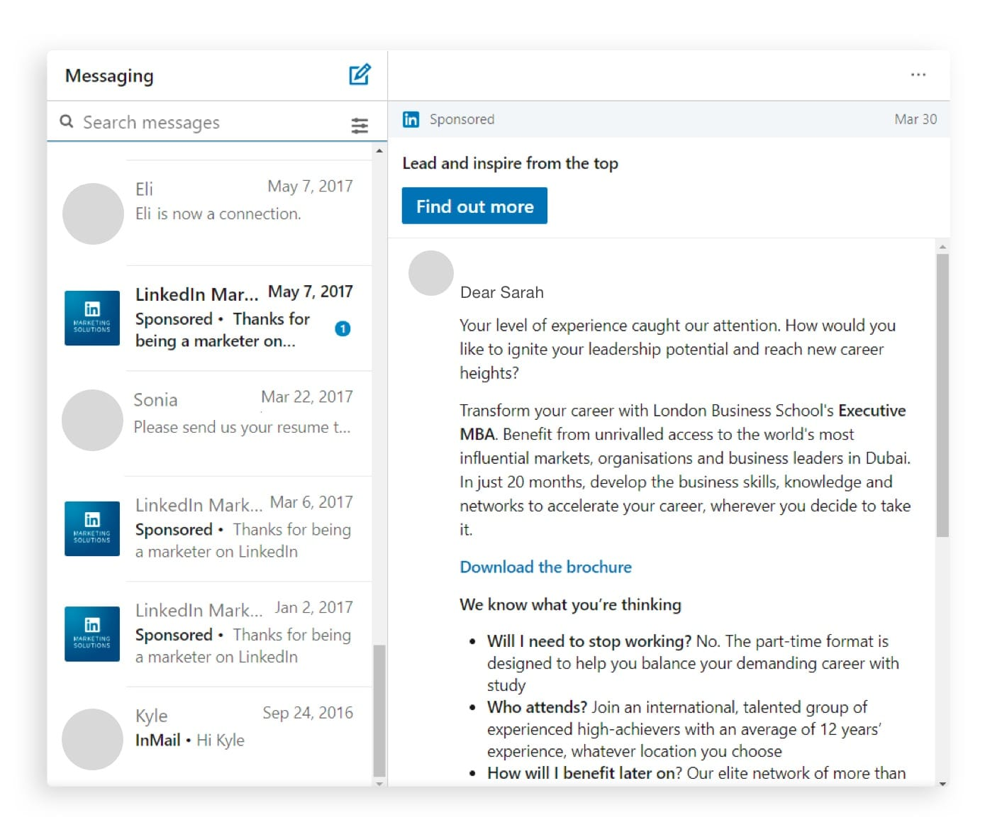 LinkedIn in-mail message ad