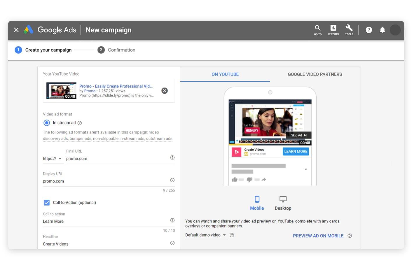 create Google ad
