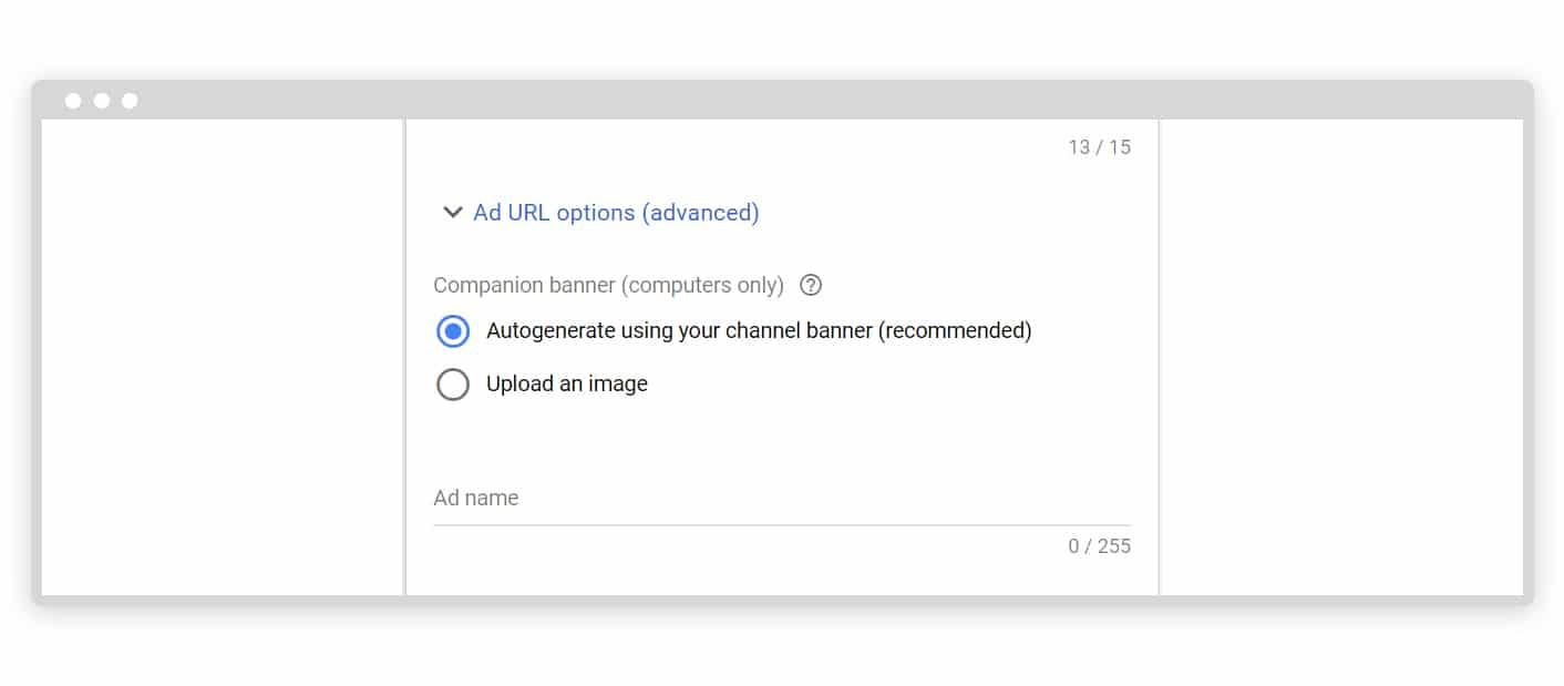 Google ad URL