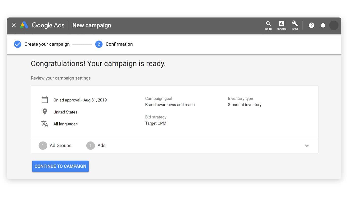 Google ad campaign ready
