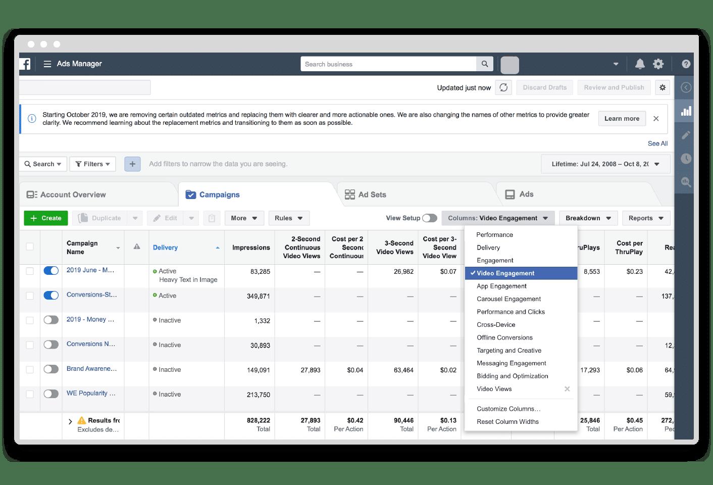 Facebook video metrics