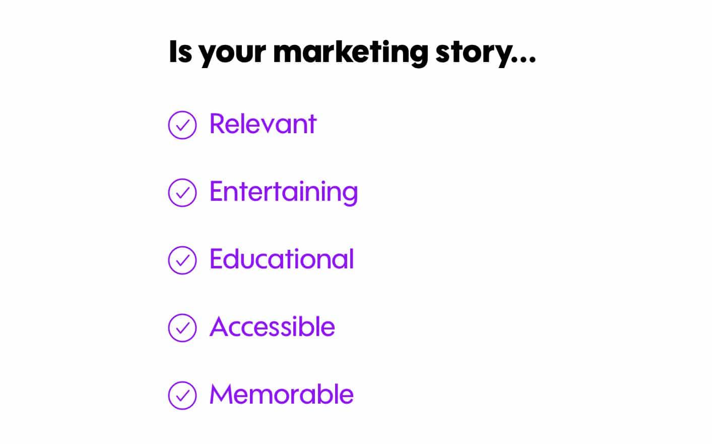 marketing story checklist