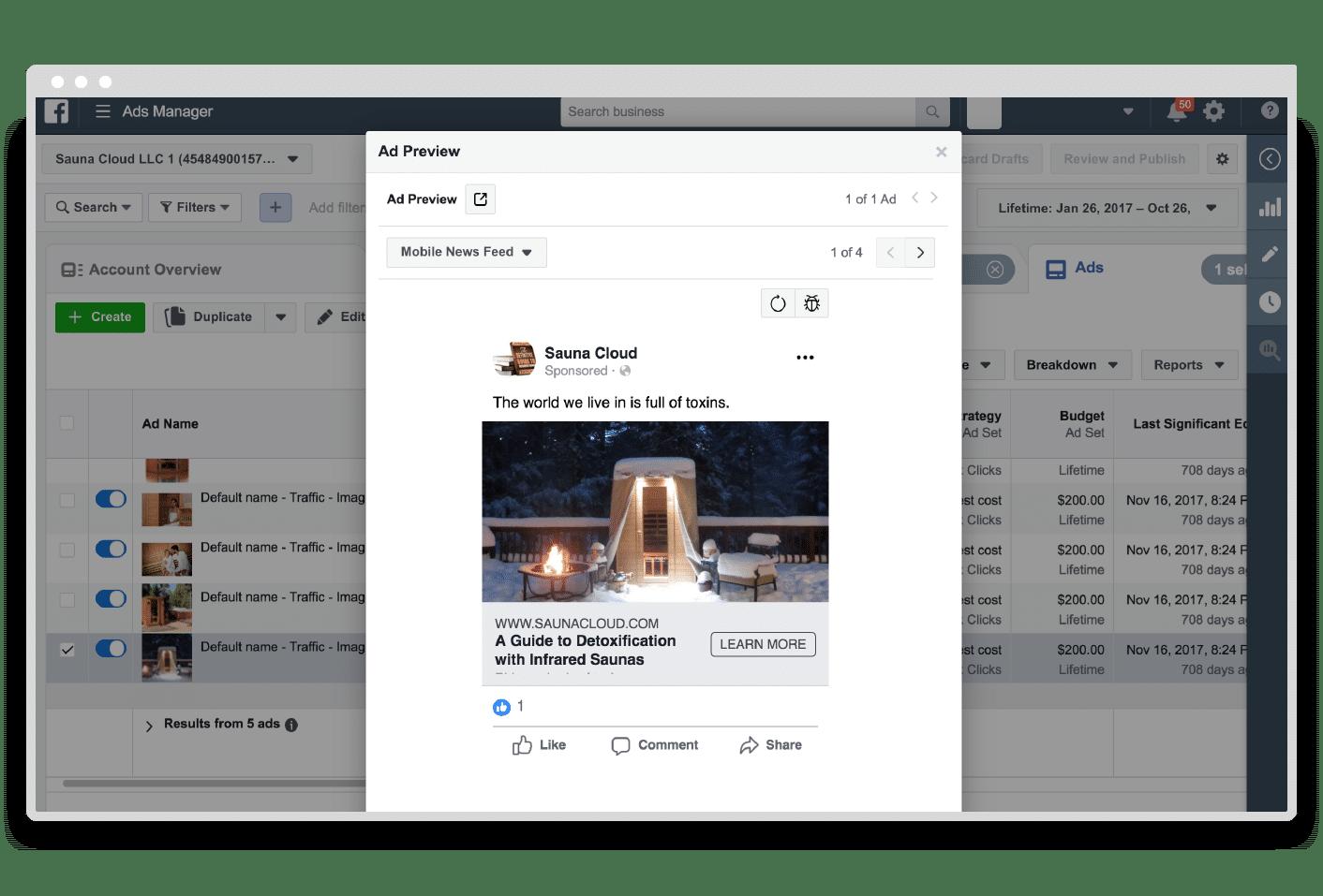 Facebook mobile ad preview
