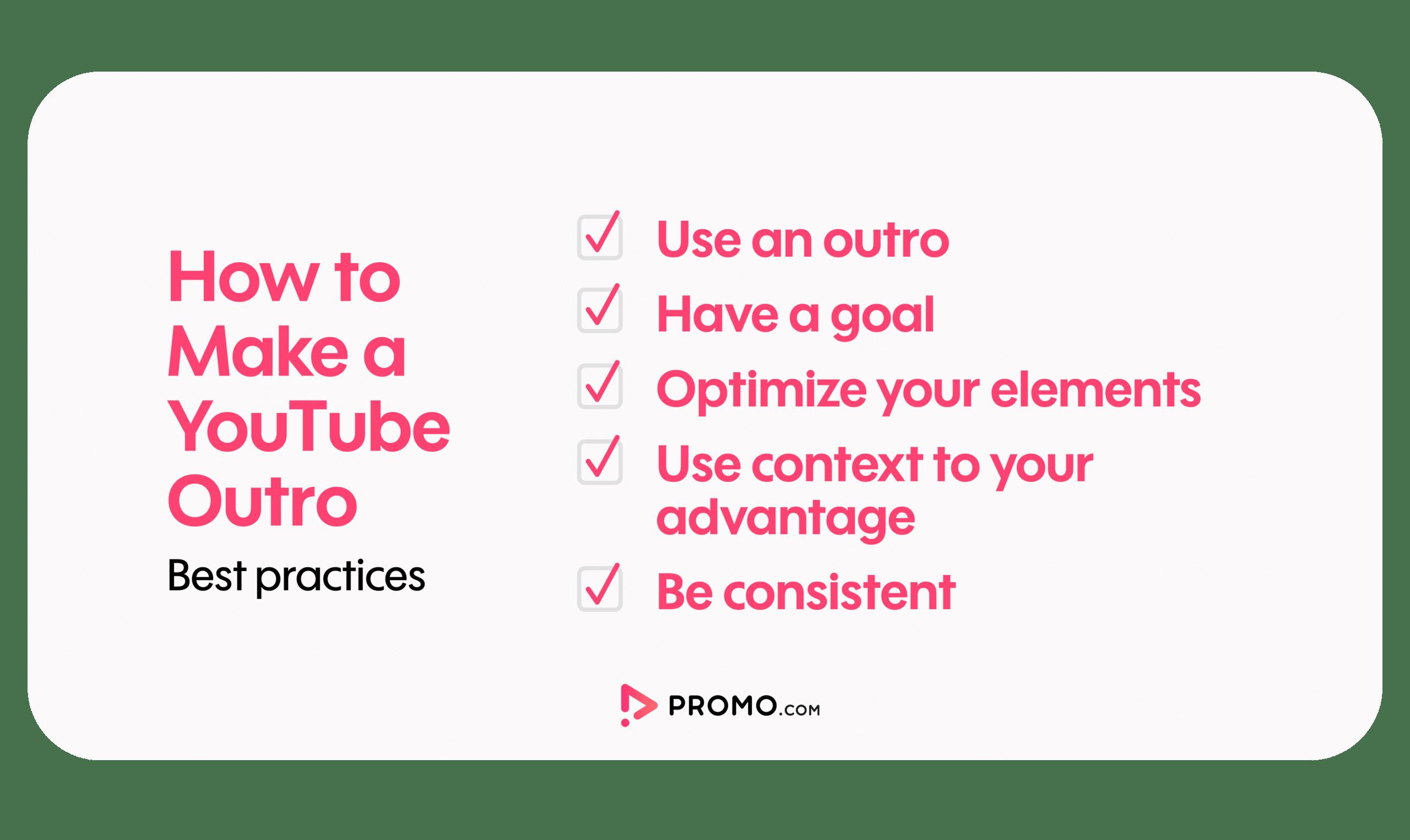 YouTube outro checklist