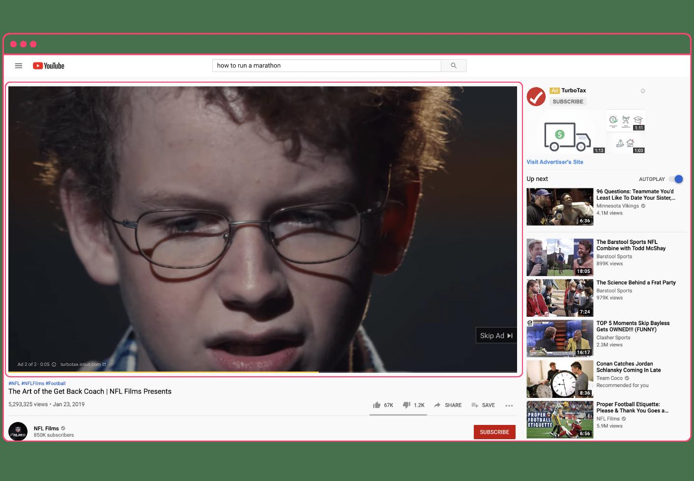 YouTube TrueView in-stream ad