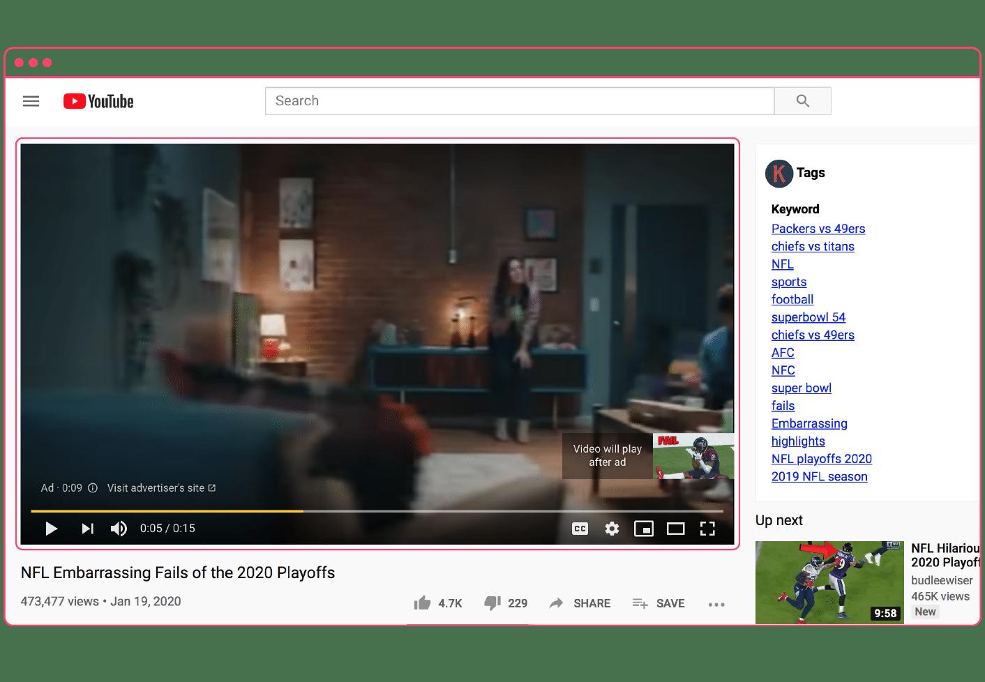 YouTube Pre-roll ad